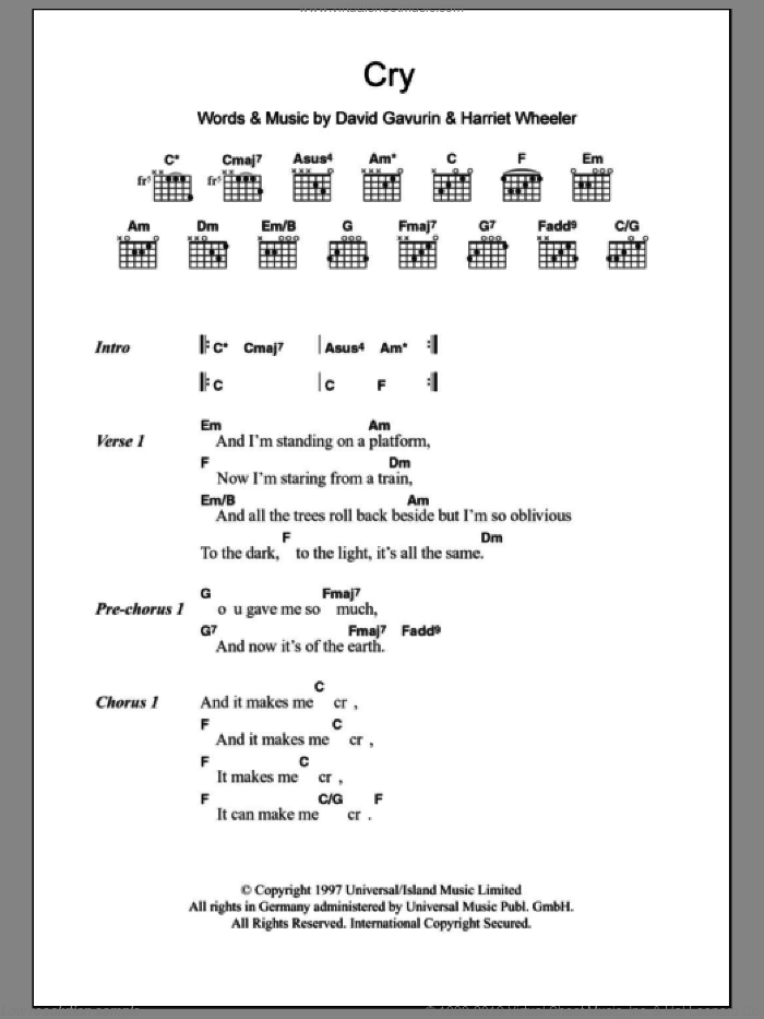 Cry sheet music for guitar (chords) by Harriet Wheeler