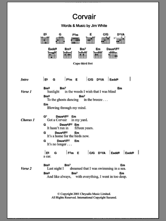 Corvair sheet music for guitar (chords) by Jim White. Score Image Preview.