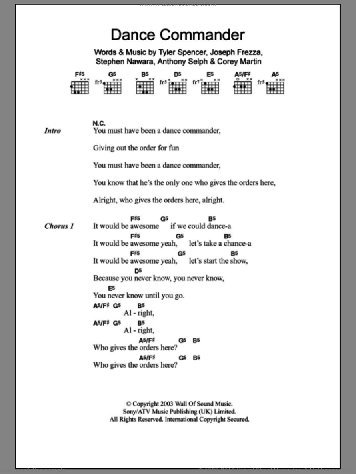 Dance Commander sheet music for guitar (chords) by Tyler Spencer and Anthony Selph. Score Image Preview.