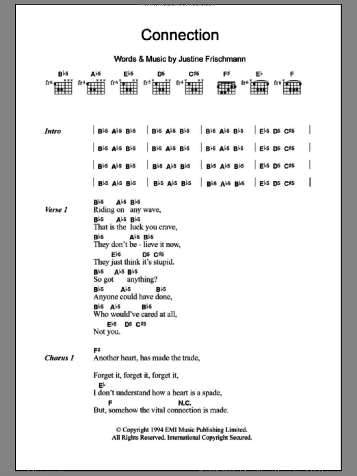 Connection sheet music for guitar (chords) by Elastica and Justine Frischmann, intermediate skill level