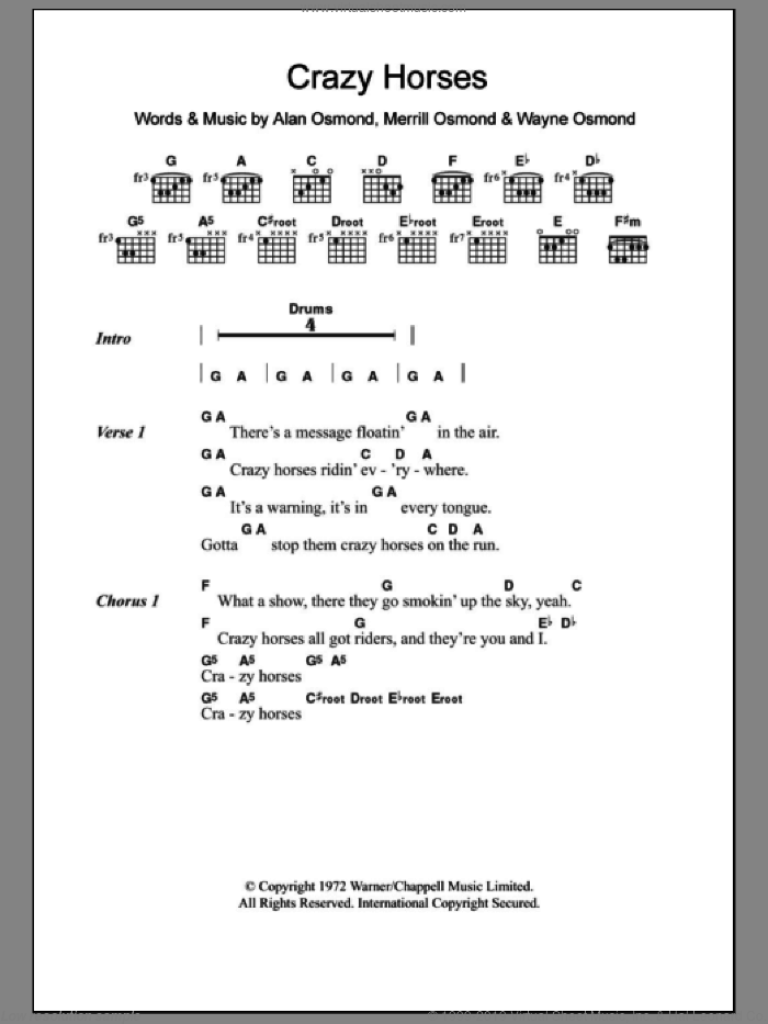 Crazy Horses sheet music for guitar (chords, lyrics, melody) by Wayne Osmond