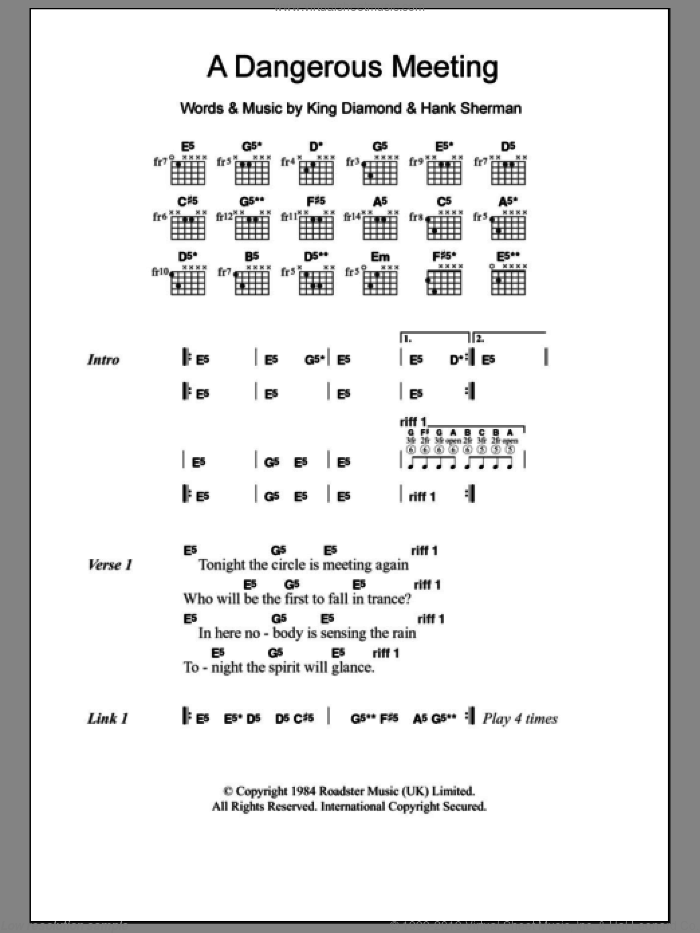 A Dangerous Meeting sheet music for guitar (chords) by Mercyful Fate, Hank Sherman and King Diamond, intermediate skill level