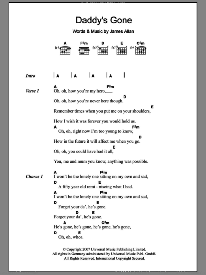 Daddy's Gone sheet music for guitar (chords) by Glasvegas and James Allan, intermediate skill level