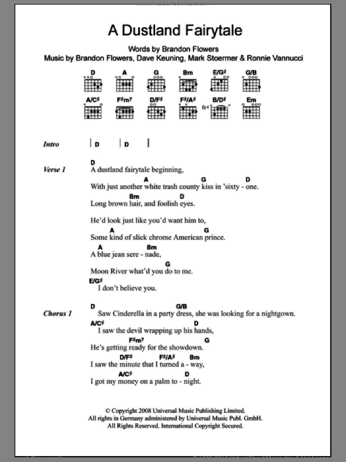 A Dustland Fairytale sheet music for guitar (chords) by Ronnie Vannucci, The Killers, Brandon Flowers, Dave Keuning and Mark Stoermer. Score Image Preview.