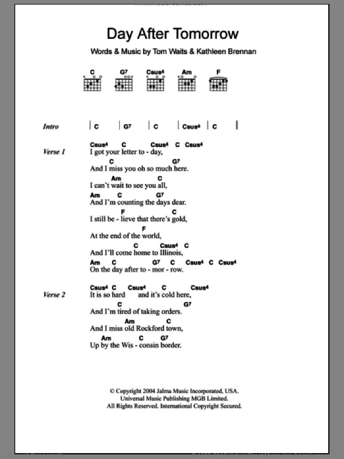 Day After Tomorrow sheet music for guitar (chords) by Kathleen Brennan and Tom Waits. Score Image Preview.