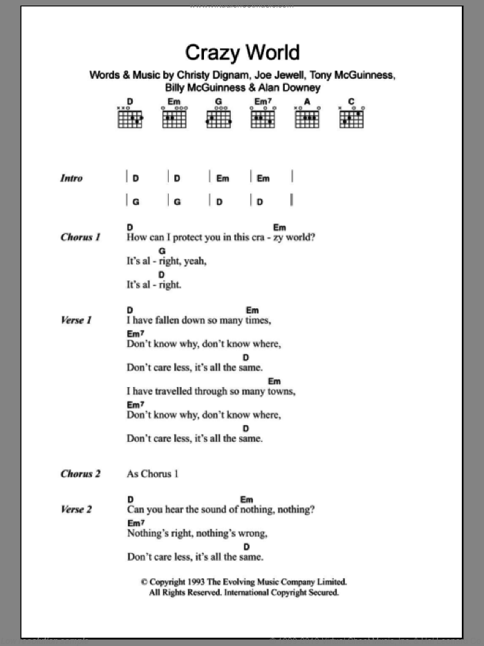 Crazy World sheet music for guitar (chords) by Aslan, Alan Downey, Billy McGuinness, Christy Dignam, Joe Jewell and Tony McGuinness, intermediate skill level