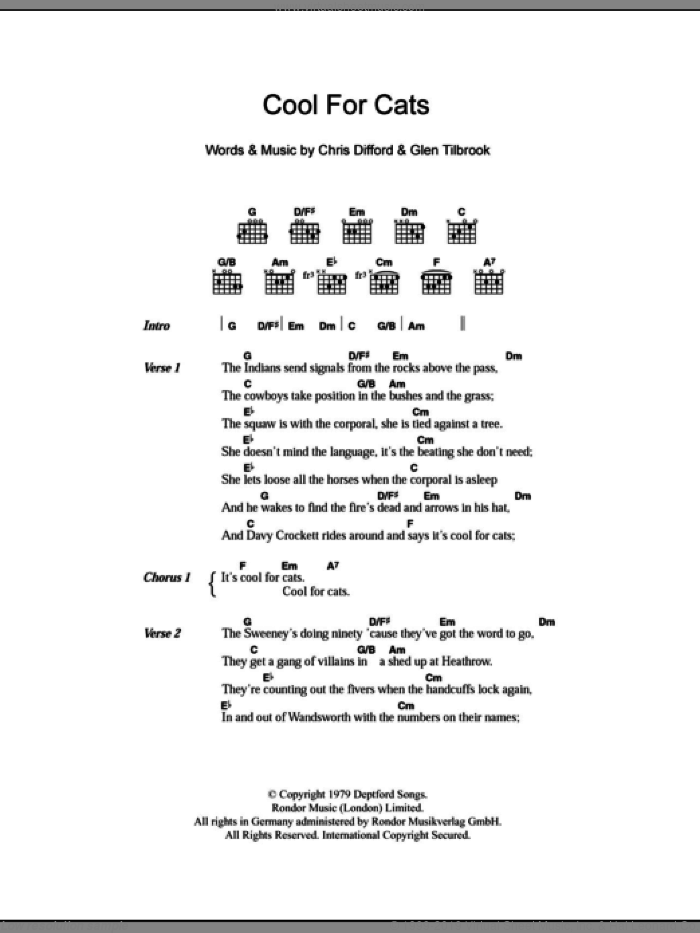 Cool For Cats sheet music for guitar (chords) by Squeeze, intermediate. Score Image Preview.