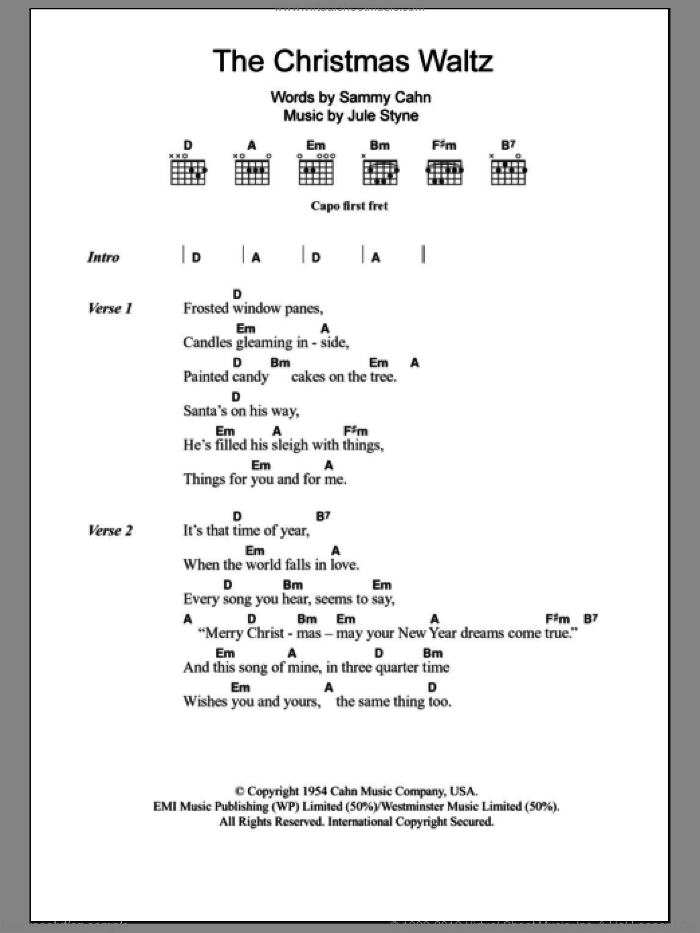 The Christmas Waltz sheet music for guitar (chords) by Sammy Cahn, Carpenters and Jule Styne. Score Image Preview.