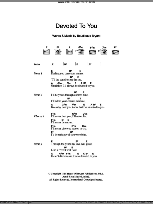 Devoted To You sheet music for guitar (chords, lyrics, melody) by Boudleaux Bryant