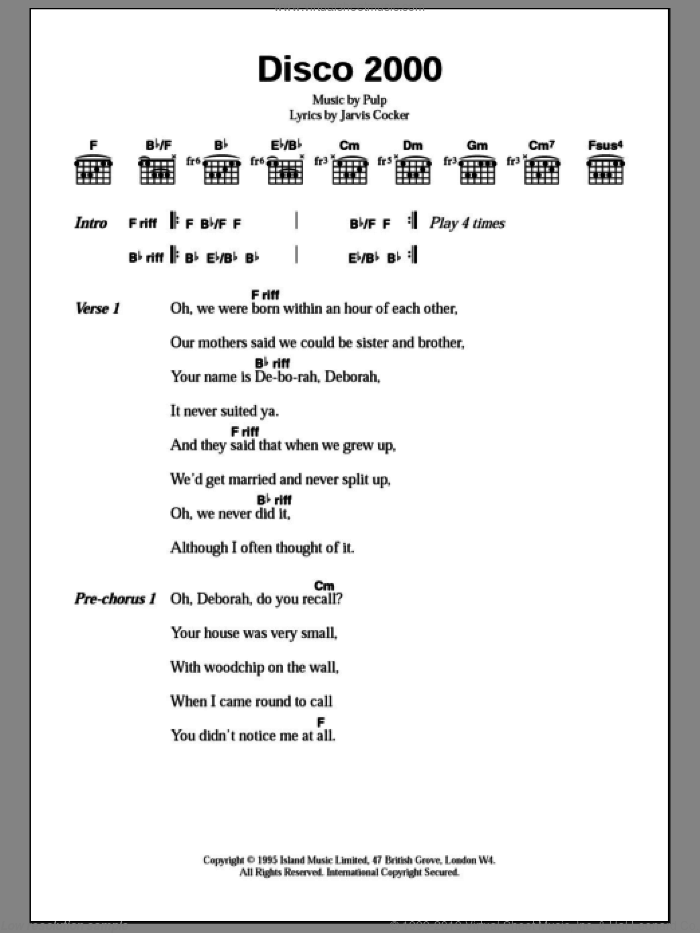 Disco 2000 sheet music for guitar (chords) by Pulp and Jarvis Cocker, intermediate. Score Image Preview.