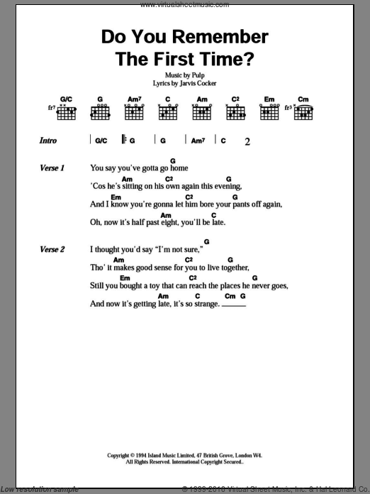 Do You Remember The First Time? sheet music for guitar (chords, lyrics, melody) by Jarvis Cocker
