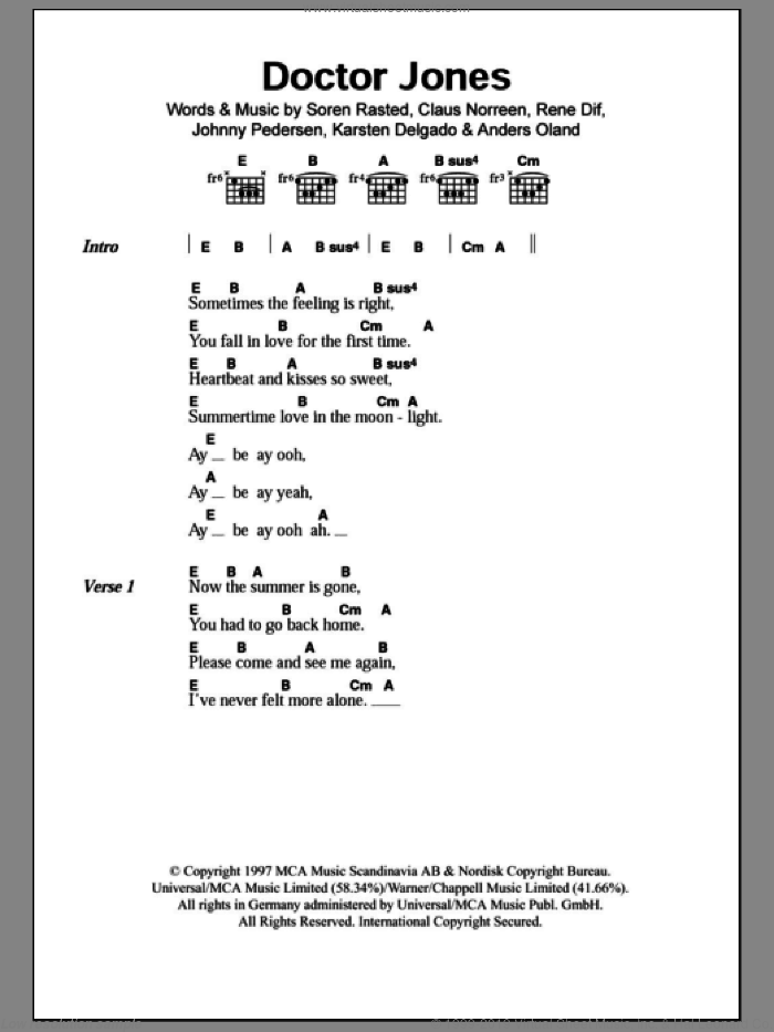 Doctor Jones sheet music for guitar (chords) by Aqua, Anders Oland, Claus Norreen, Johnny Pedersen, Karsten Delgado, Rene Dif and Soren Rasted, intermediate skill level
