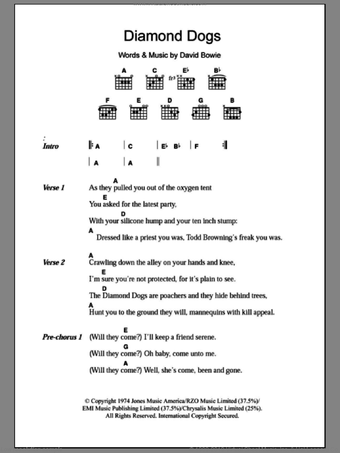 Diamond Dogs sheet music for guitar (chords) by David Bowie, intermediate guitar (chords). Score Image Preview.