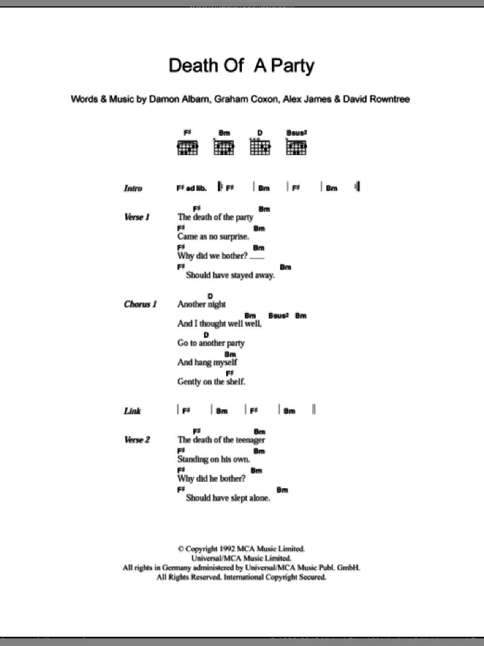 Death Of A Party sheet music for guitar (chords) by Graham Coxon, Blur, Alex James and Damon Albarn