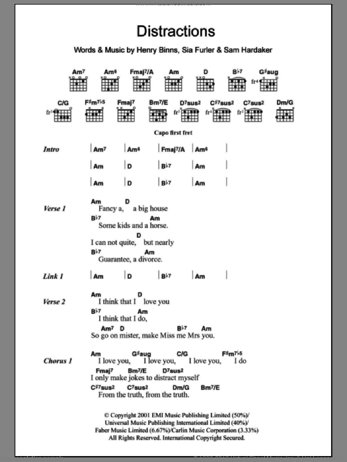 Distractions sheet music for guitar (chords) by Sia Furler. Score Image Preview.