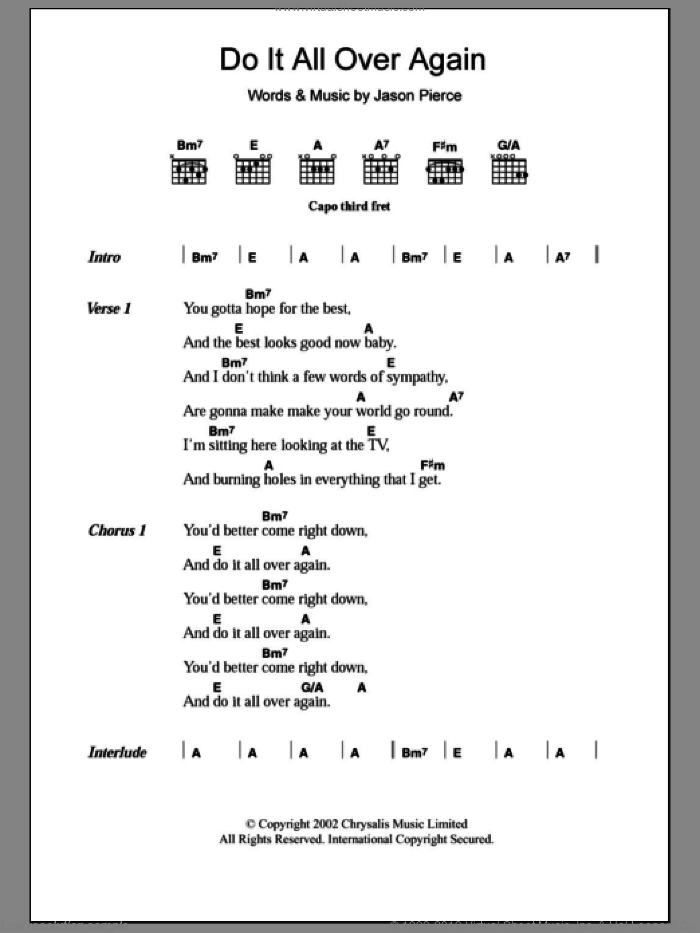 Do It All Over Again sheet music for guitar (chords) by Spiritualized