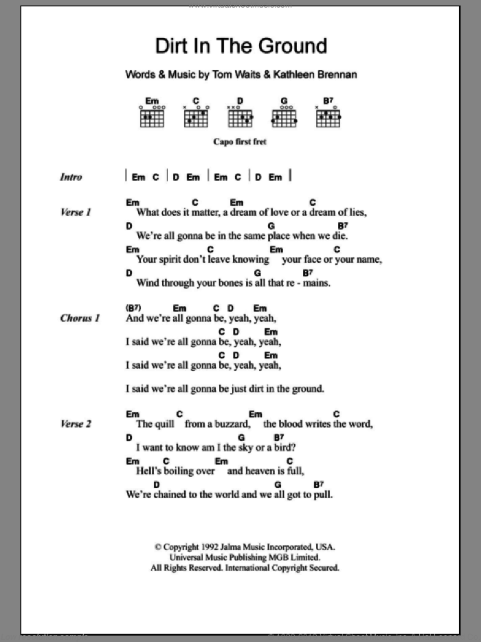 Dirt In The Ground sheet music for guitar (chords) by Tom Waits and Kathleen Brennan, intermediate skill level