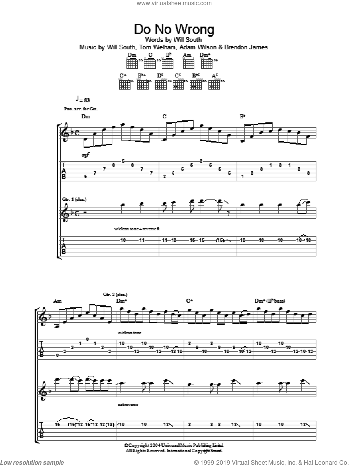 Do No Wrong sheet music for guitar (tablature) by Will South and Adam Wilson