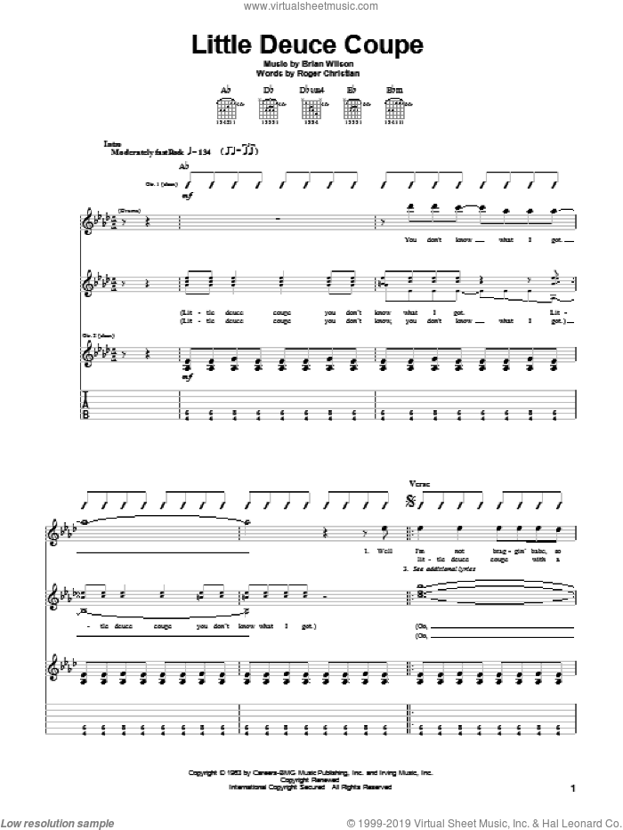 Little Deuce Coupe sheet music for guitar (tablature) by Roger Christian, The Beach Boys and Brian Wilson. Score Image Preview.
