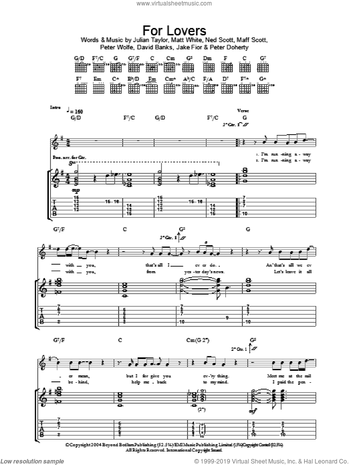 For Lovers sheet music for guitar (tablature) by Peter Wolfe and Pete Doherty. Score Image Preview.