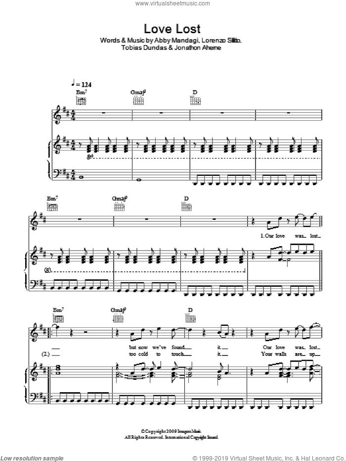 Love Lost sheet music for voice, piano or guitar by Tobias Dundas