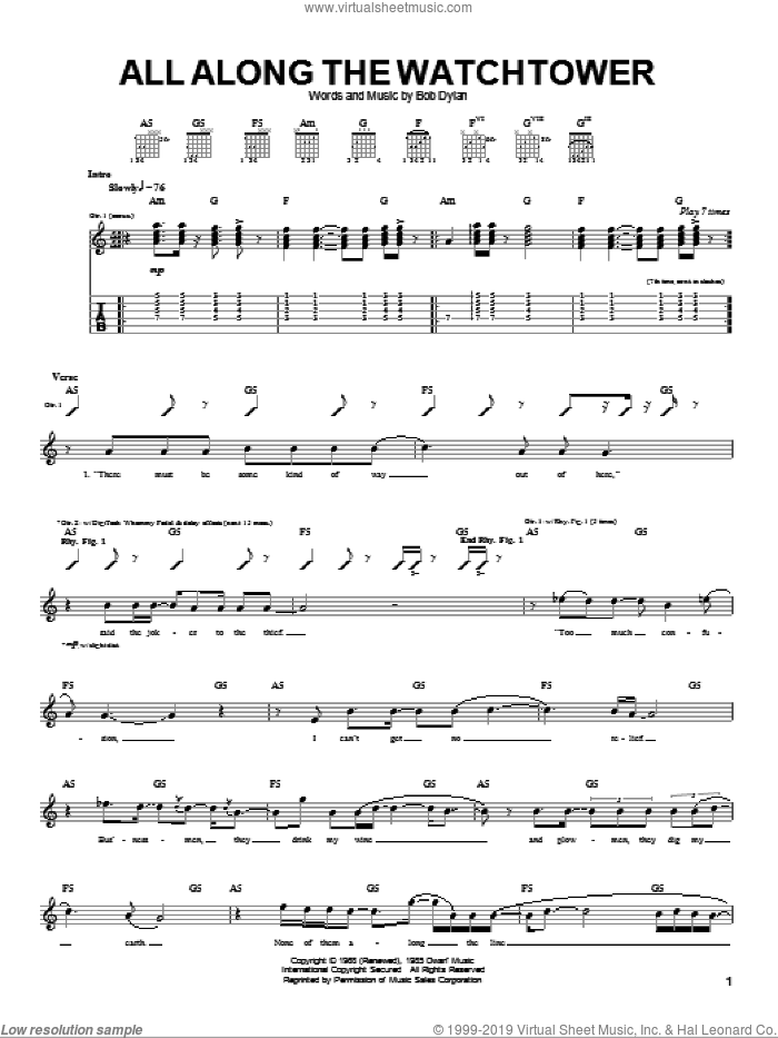 All Along The Watchtower sheet music for guitar (tablature) by Dave Matthews Band