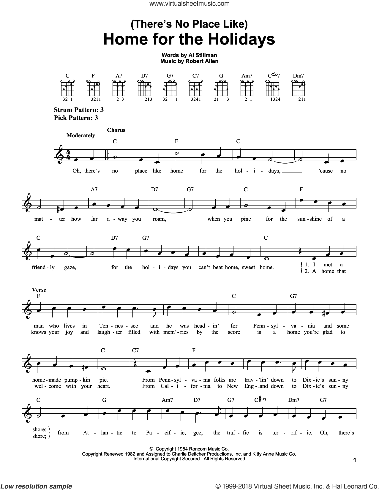 (There's No Place Like) Home For The Holidays sheet music for guitar solo (chords) by Perry Como, Al Stillman and Robert Allen, easy guitar (chords)