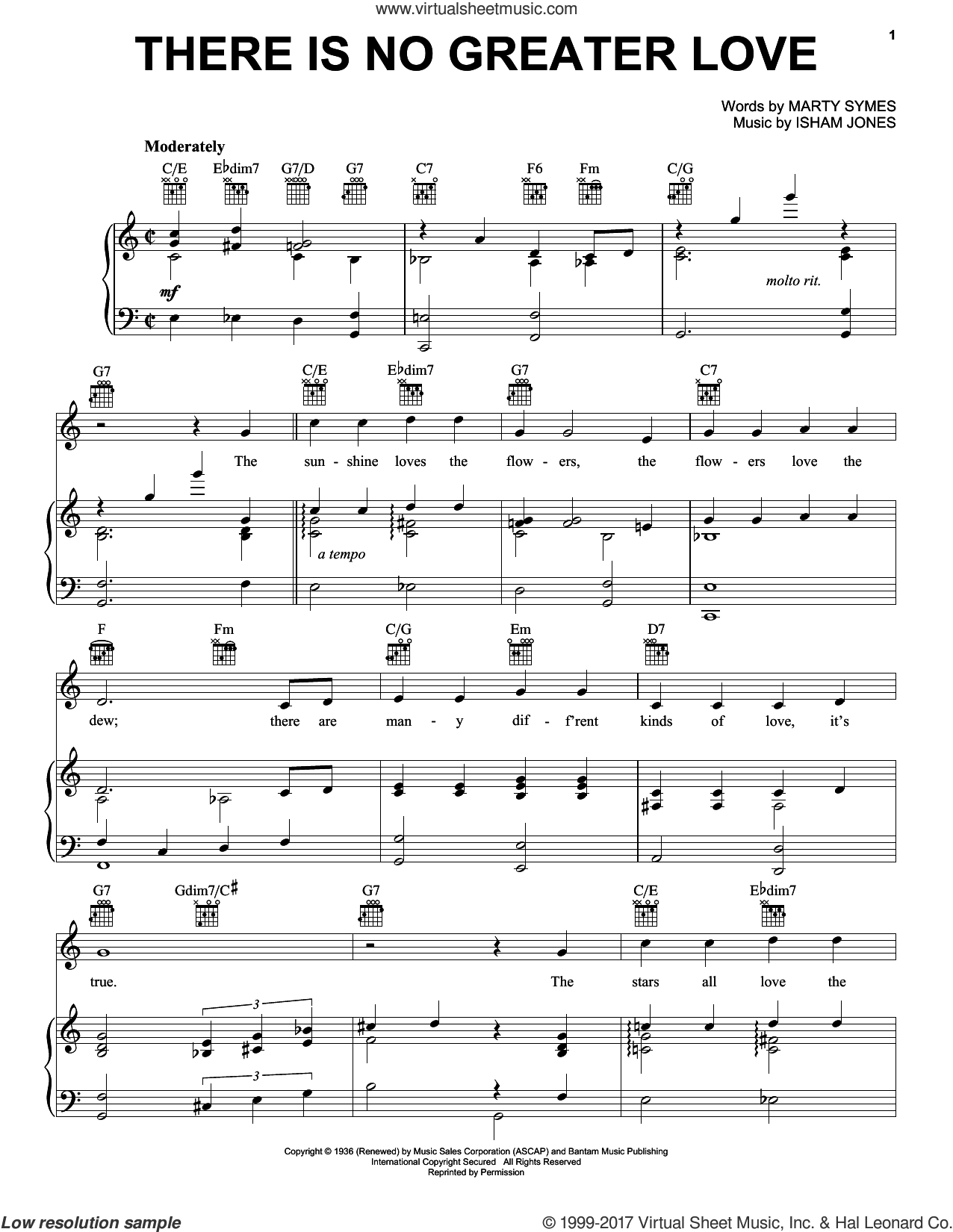 There Is No Greater Love sheet music for voice, piano or guitar by Isham Jones and Marty Symes, intermediate skill level