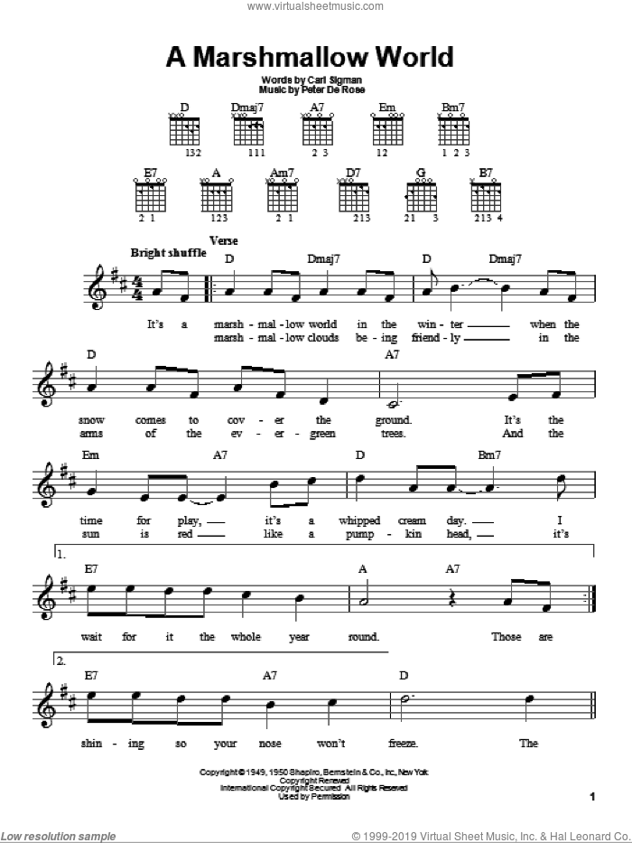 A Marshmallow World sheet music for guitar solo (chords) by Peter DeRose, Bing Crosby and Carl Sigman. Score Image Preview.