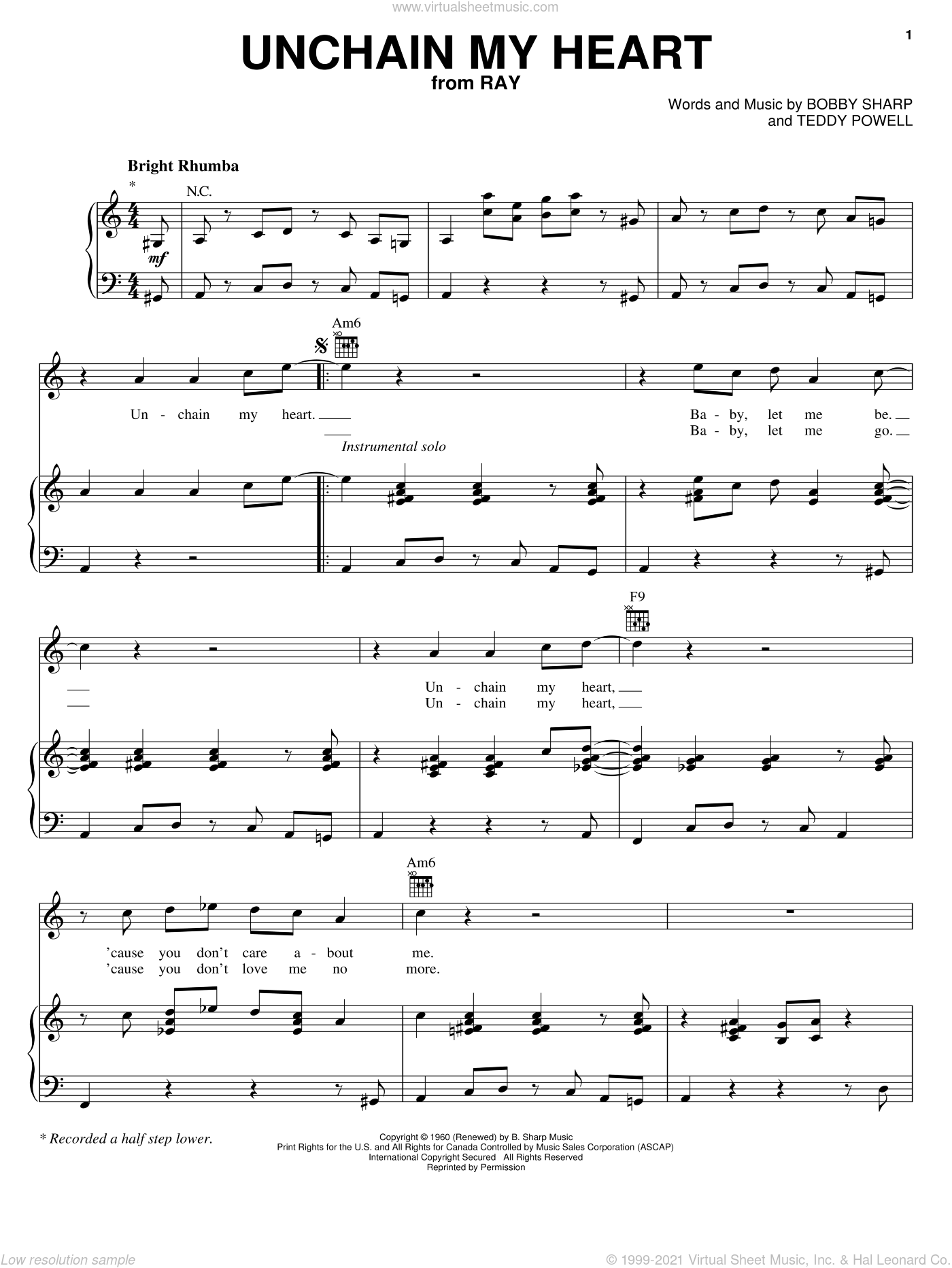 Unchain My Heart sheet music for voice, piano or guitar by Ray Charles, Ray (Movie), Bobby Sharp and Teddy Powell, intermediate skill level
