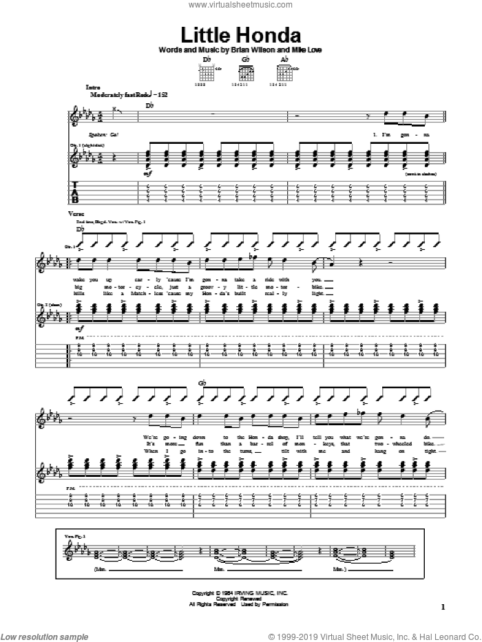 Little Honda sheet music for guitar (tablature) by The Beach Boys, Brian Wilson and Mike Love, intermediate skill level