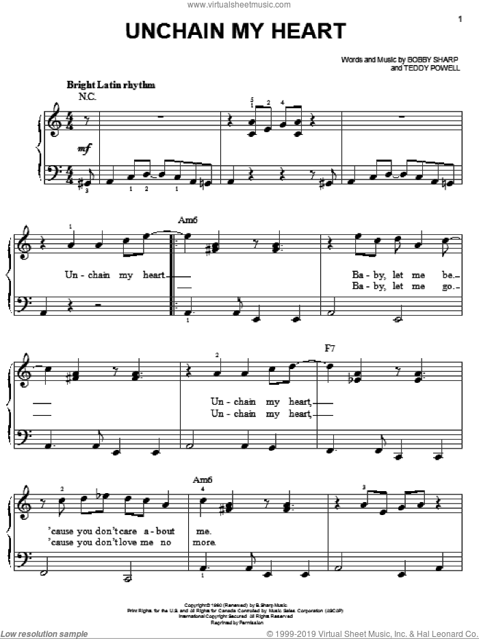 Unchain My Heart sheet music for piano solo by Ray Charles. Score Image Preview.