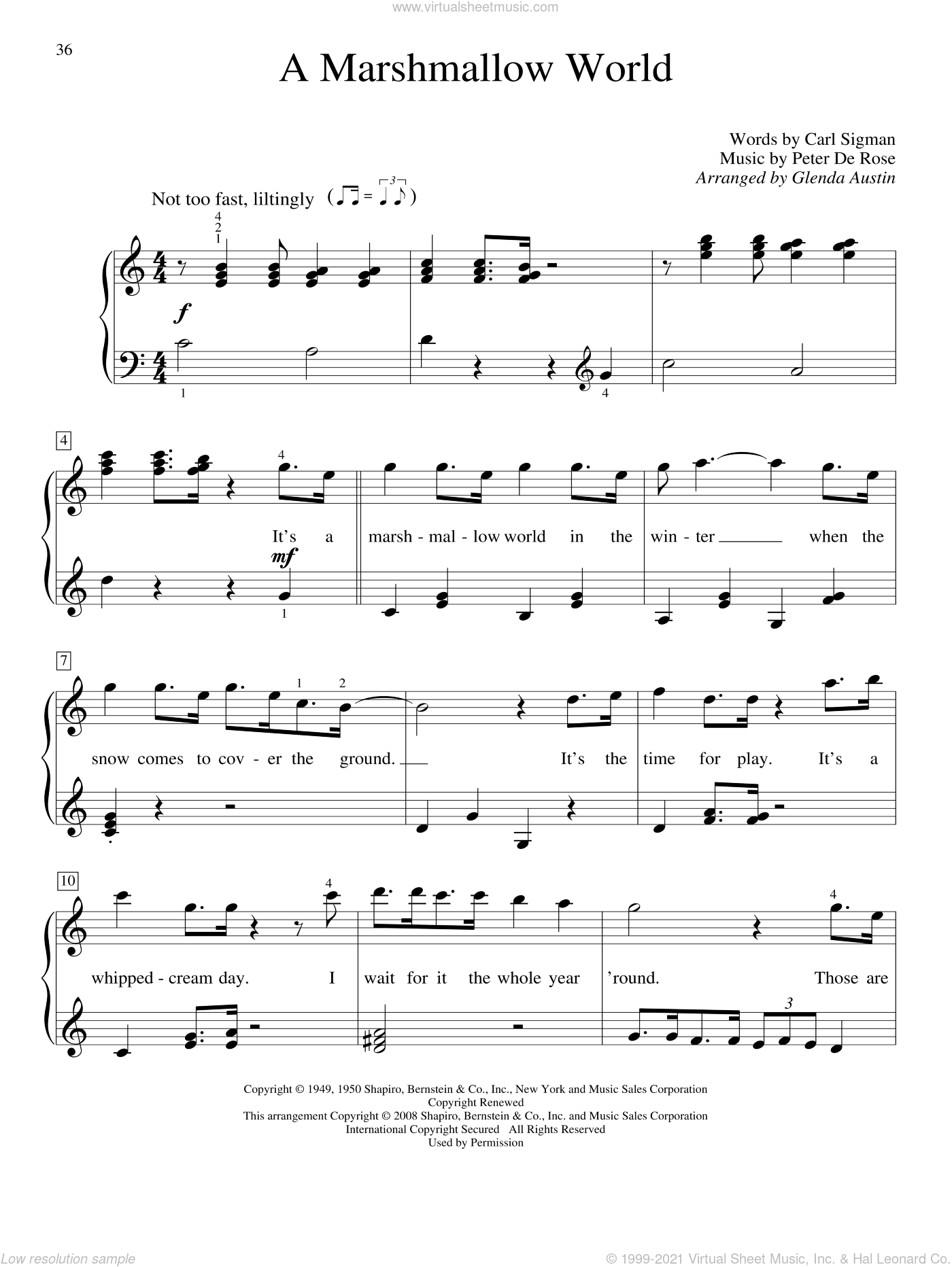 A Marshmallow World sheet music for piano solo (elementary) by Bing Crosby, Glenda Austin, Carl Sigman and Peter DeRose. Score Image Preview.