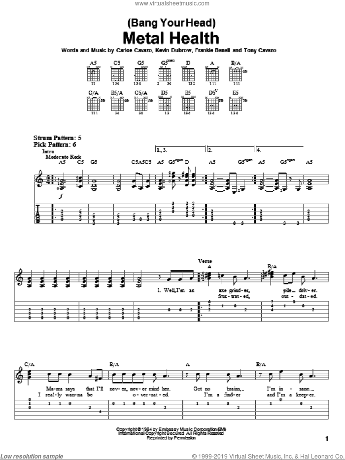 (Bang Your Head) Metal Health sheet music for guitar solo (easy tablature) by Tony Cavazo. Score Image Preview.