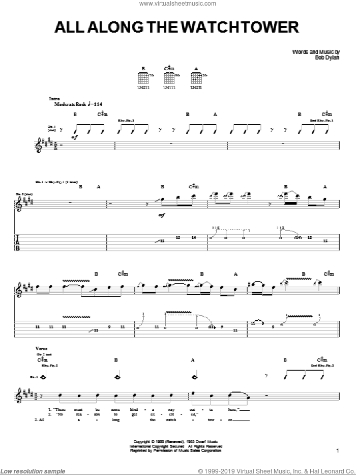 All Along The Watchtower sheet music for guitar solo (chords) by Bob Dylan, Jimi Hendrix and U2, easy guitar (chords). Score Image Preview.