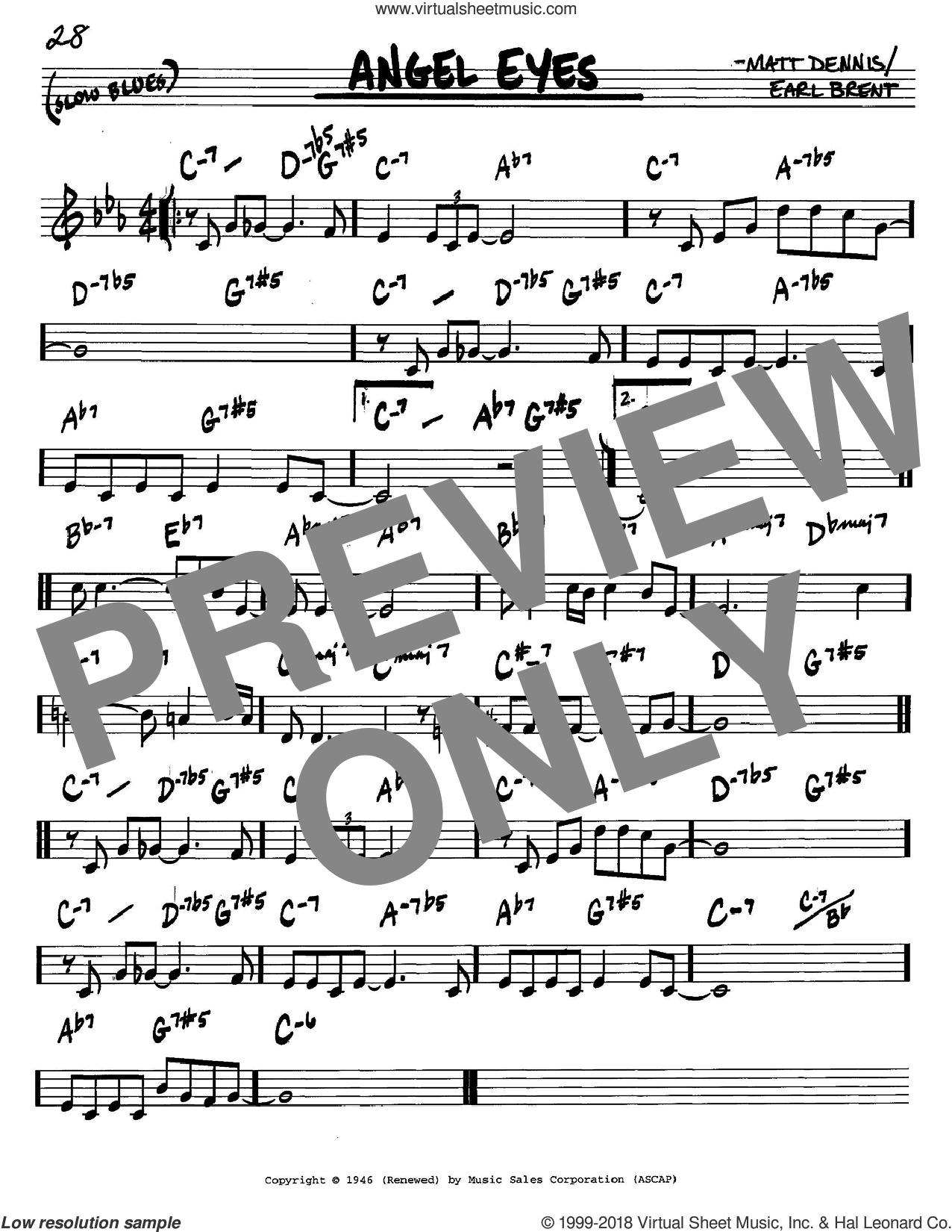 Angel Eyes sheet music for voice and other instruments (in C) by Frank Sinatra, Earl Brent and Matt Dennis, intermediate. Score Image Preview.