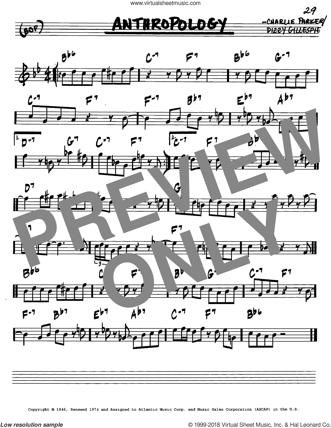Anthropology sheet music for voice and other instruments (in C) by Charlie Parker and Dizzy Gillespie, intermediate skill level