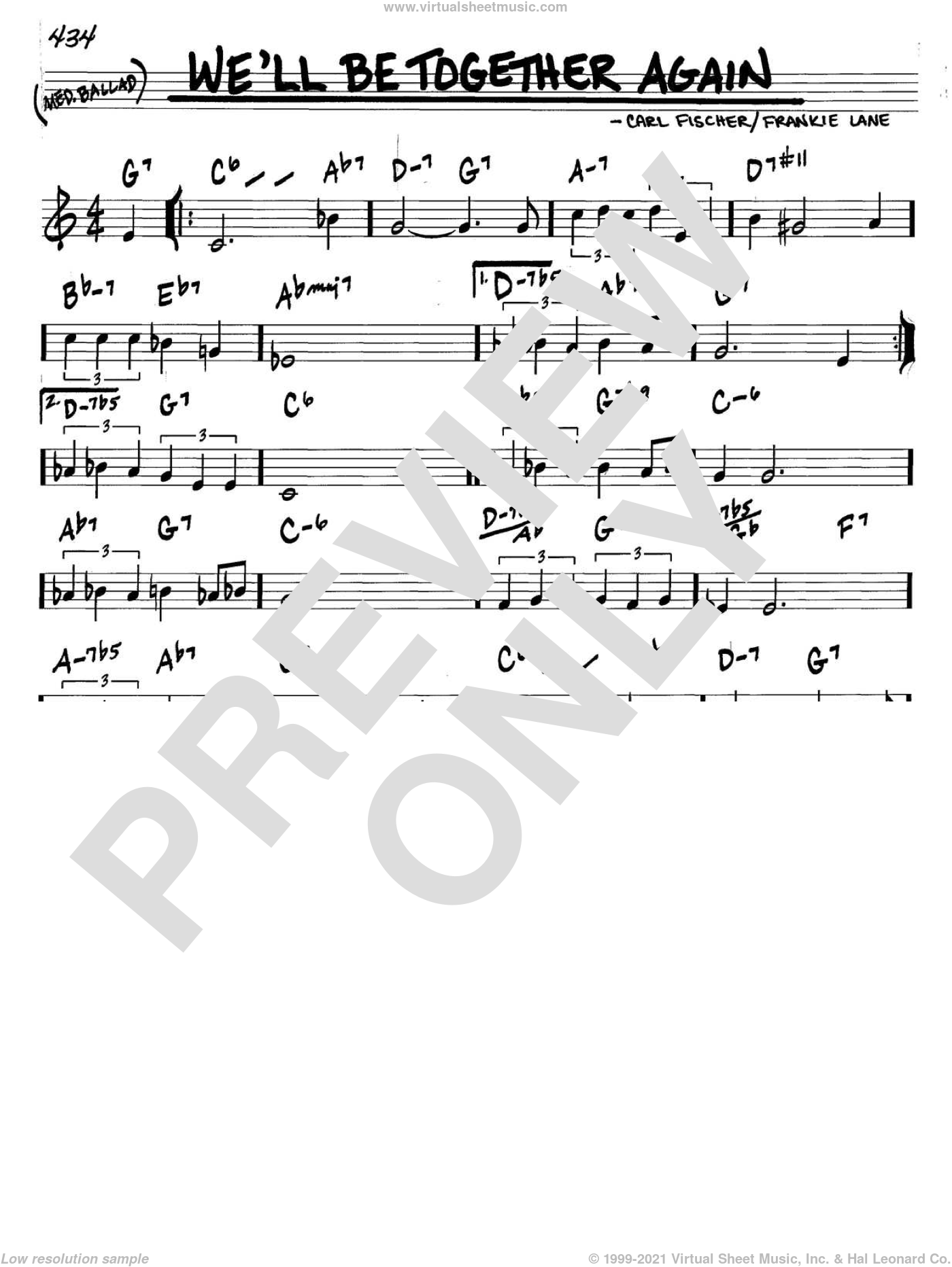 We'll Be Together Again sheet music for voice and other instruments (C) by Carl Fischer and Frankie Laine