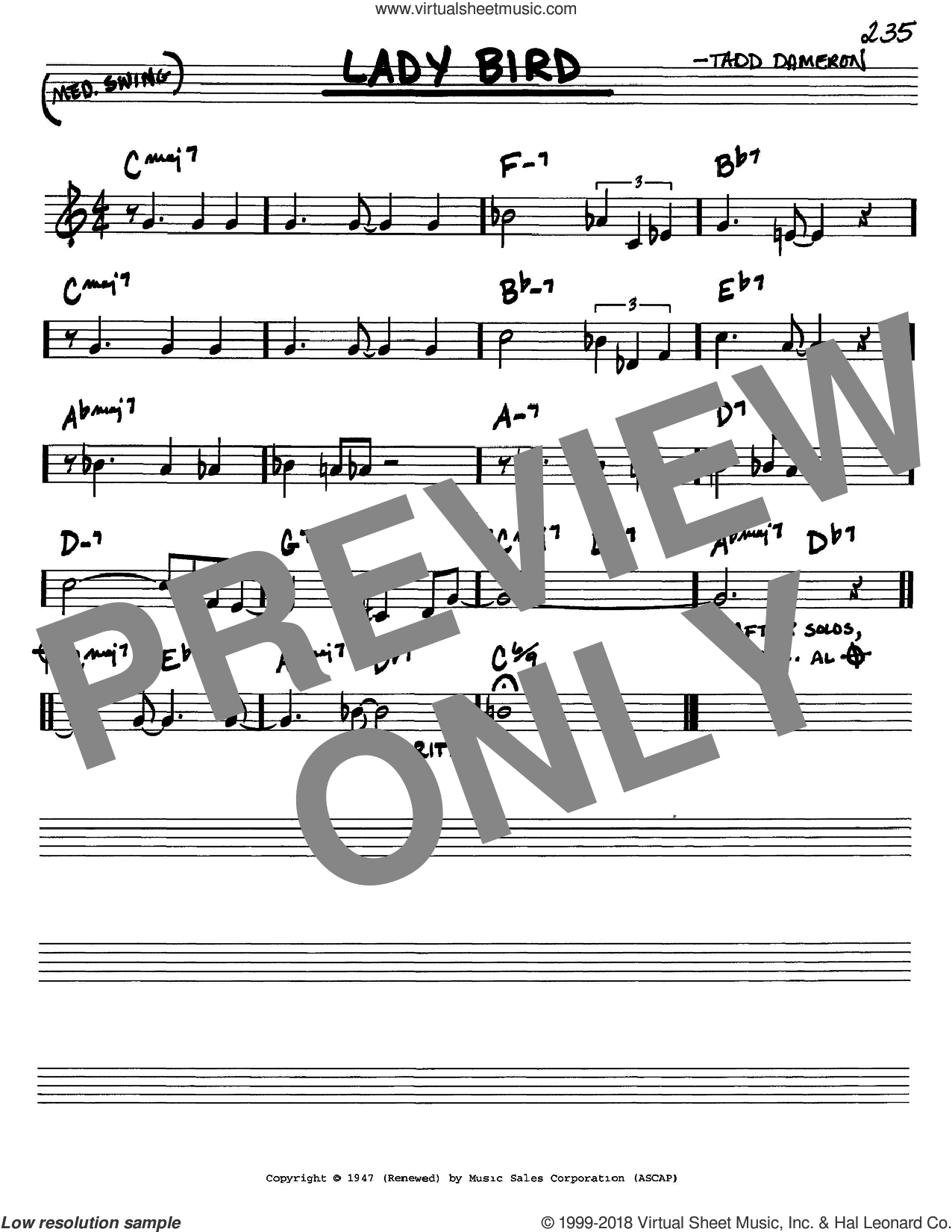 Lady Bird sheet music for voice and other instruments (in C) by Miles Davis and Tadd Dameron, intermediate skill level