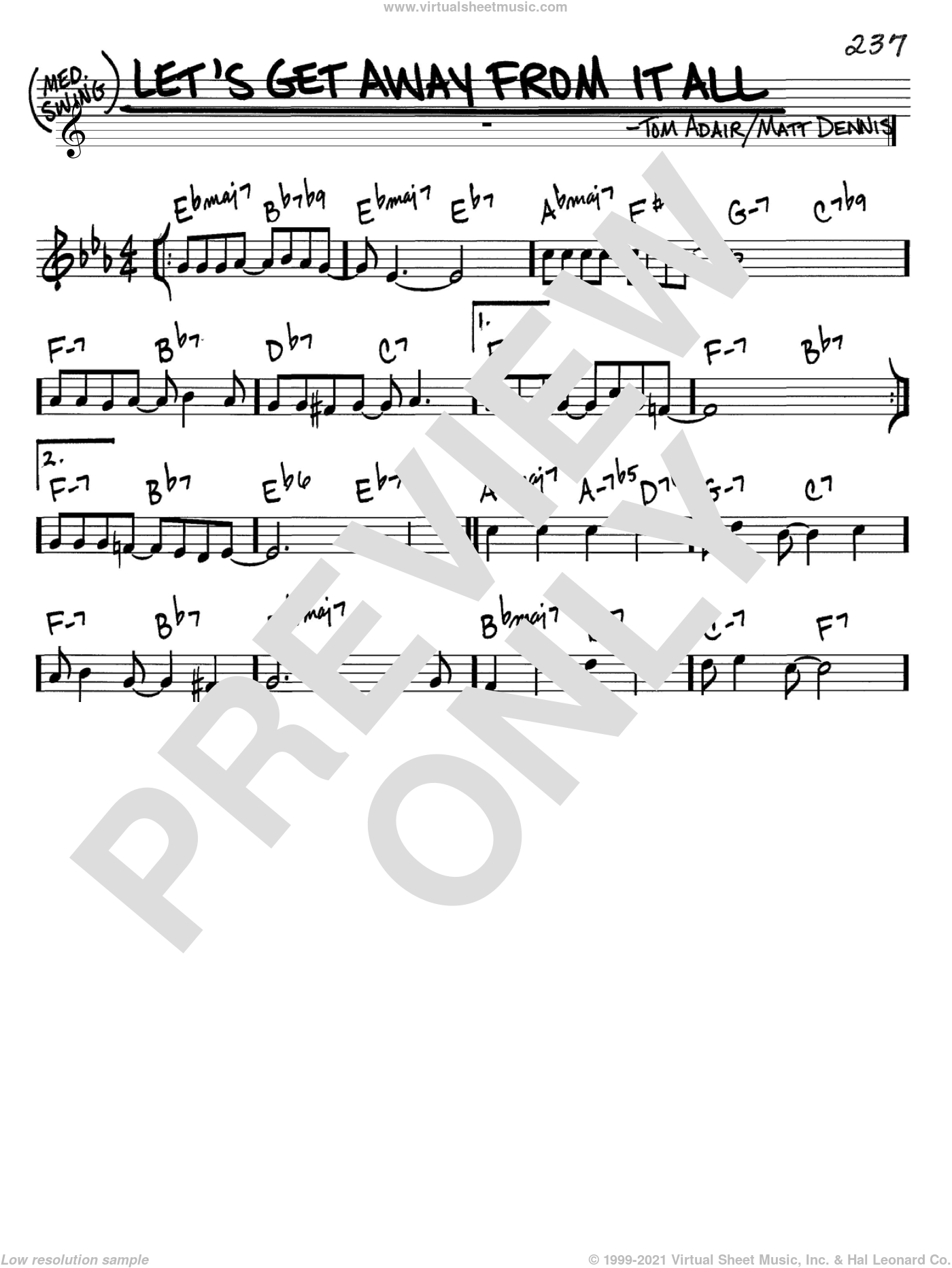 Let's Get Away From It All sheet music for voice and other instruments (C) by Tom Adair