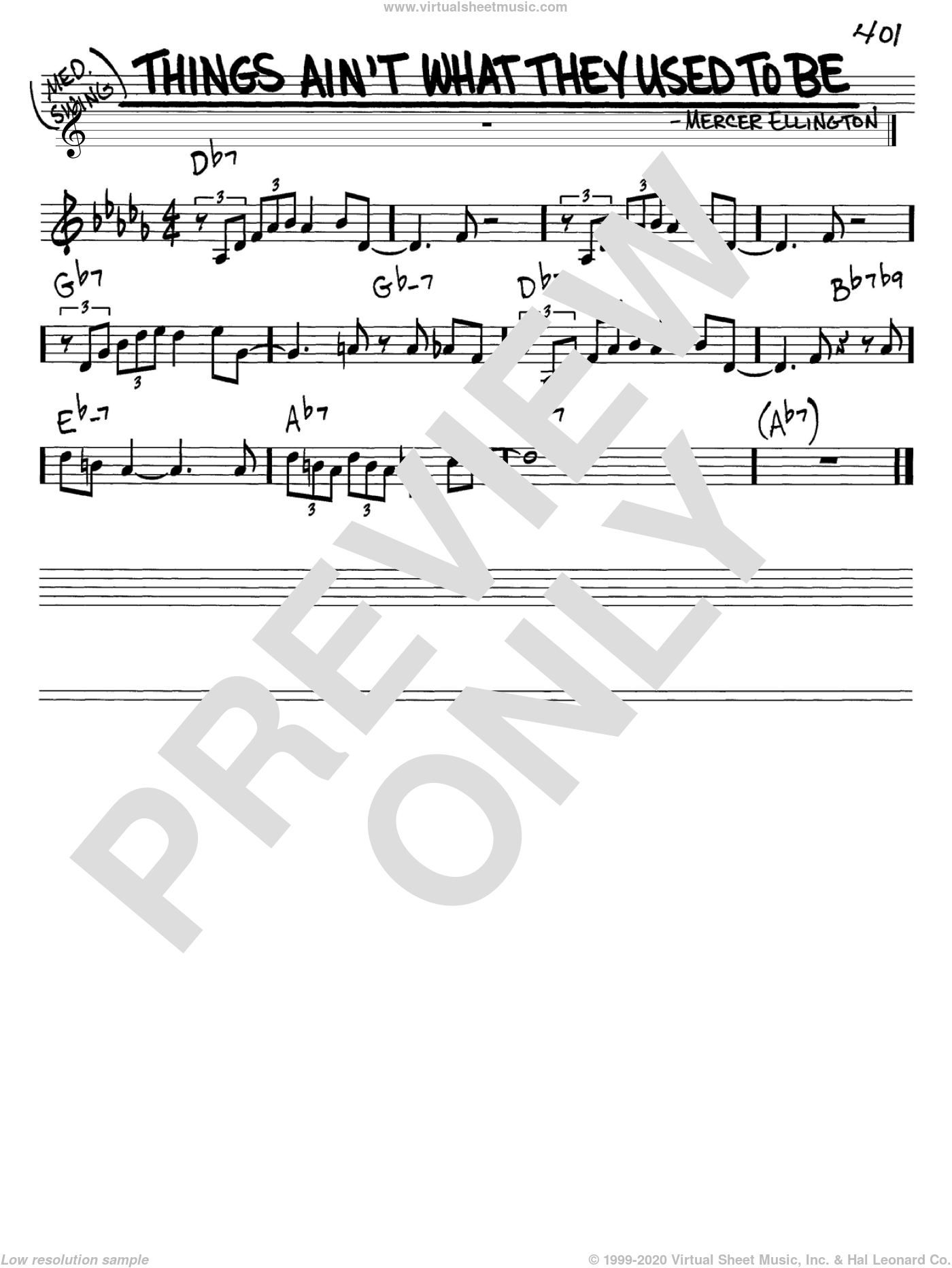 Things Ain't What They Used To Be sheet music for voice and other instruments (C) by Mercer Ellington. Score Image Preview.