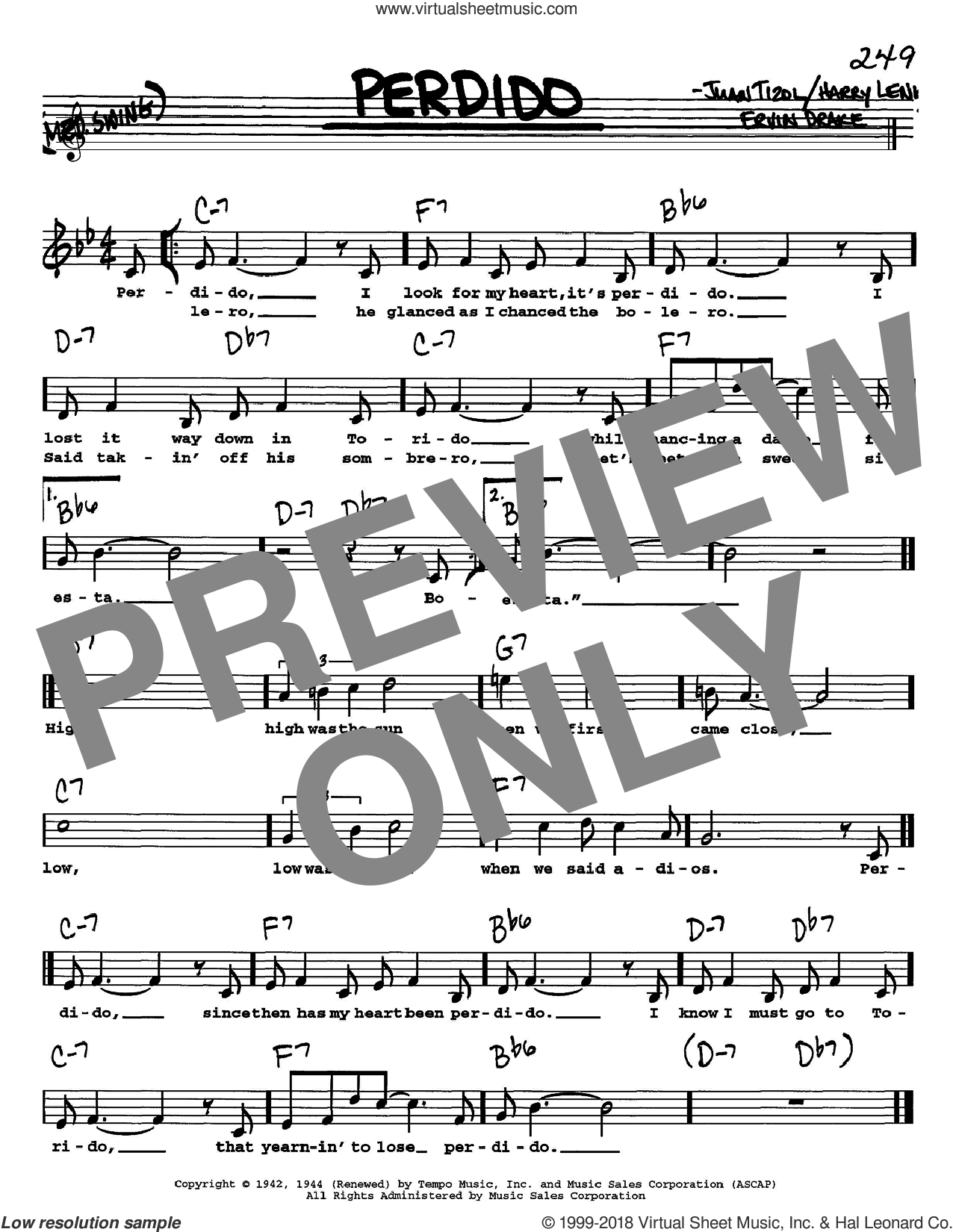 Perdido sheet music for voice and other instruments (Vocal Volume 1) by Juan Tizol