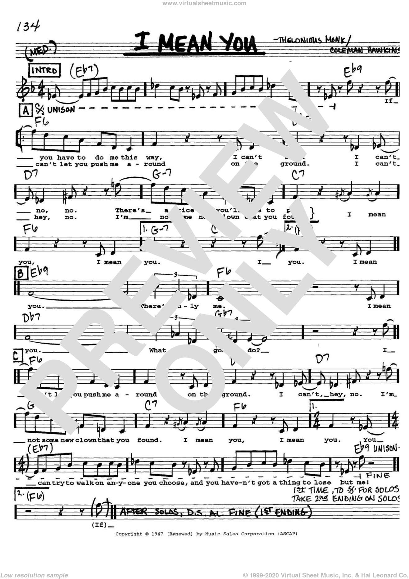 I Mean You sheet music for voice and other instruments (Vocal Volume 1) by Thelonious Monk and Coleman Hawkins, intermediate voice. Score Image Preview.