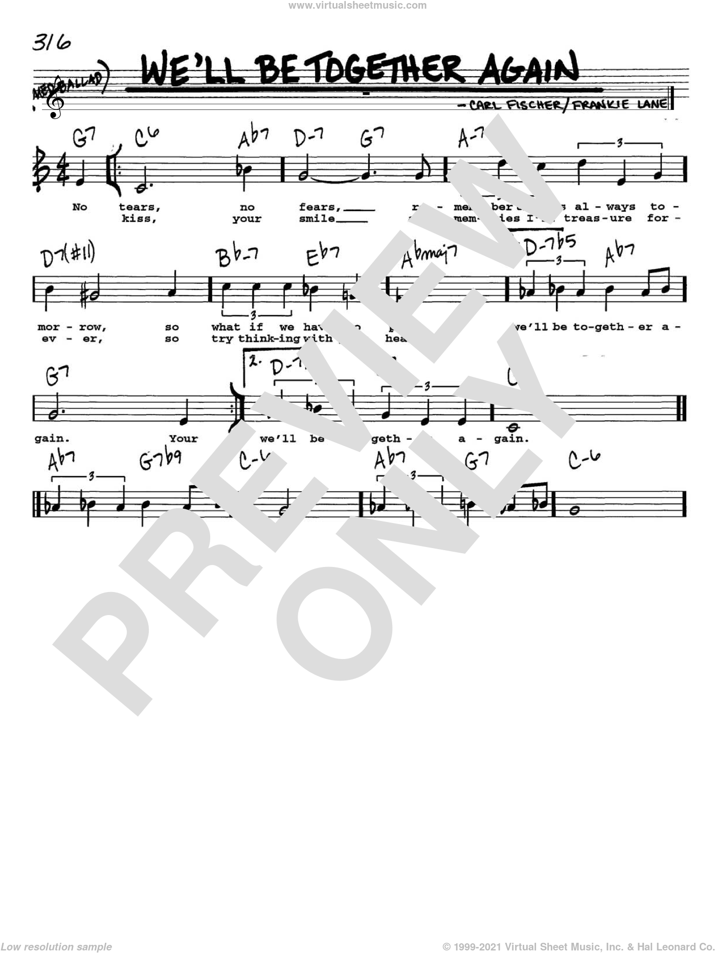 We'll Be Together Again sheet music for voice and other instruments (Vocal Volume 1) by Carl Fischer
