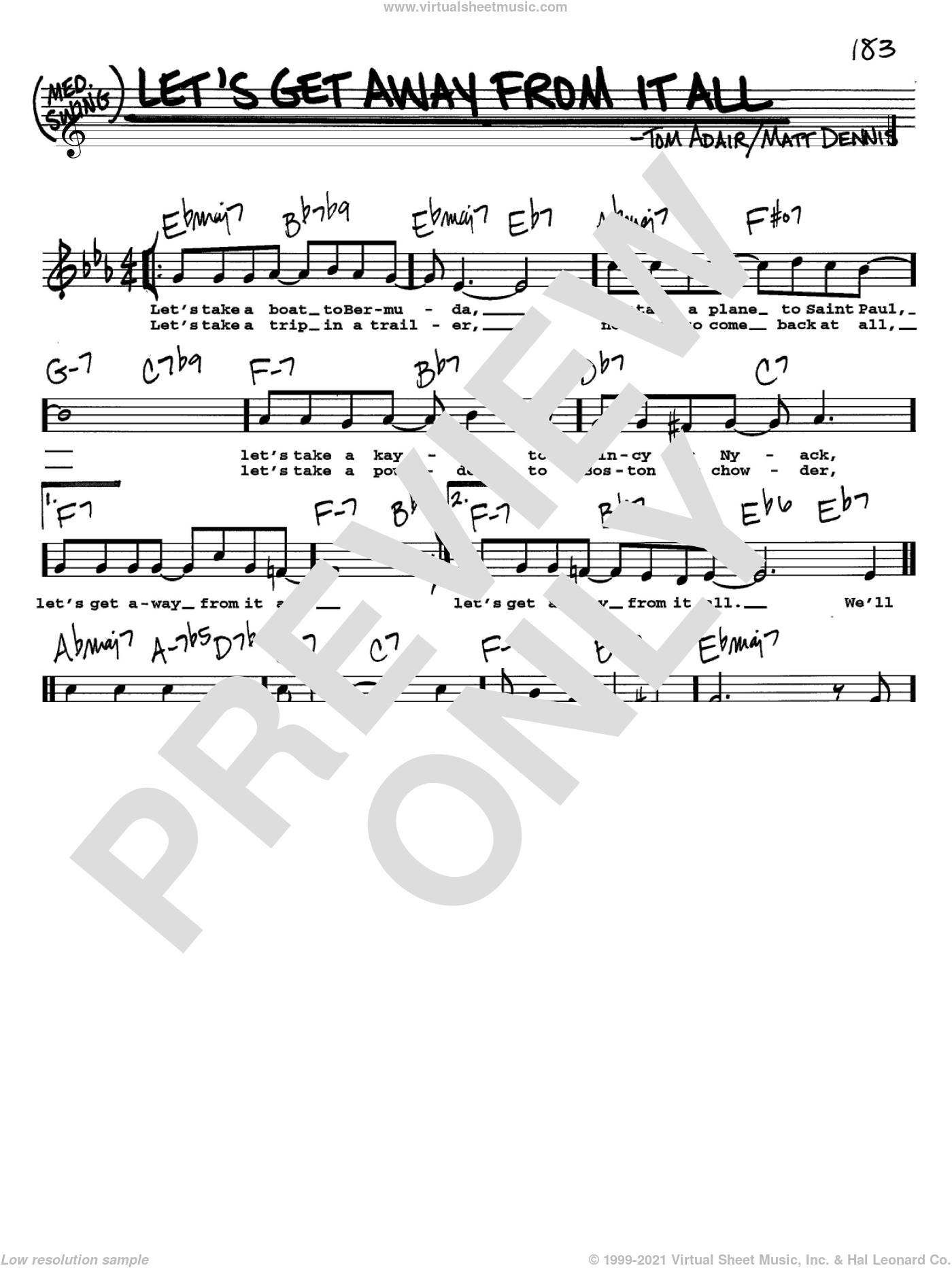 Let's Get Away From It All sheet music for voice and other instruments (Vocal Volume 2) by Frank Sinatra, Matt Dennis and Tom Adair, intermediate voice. Score Image Preview.