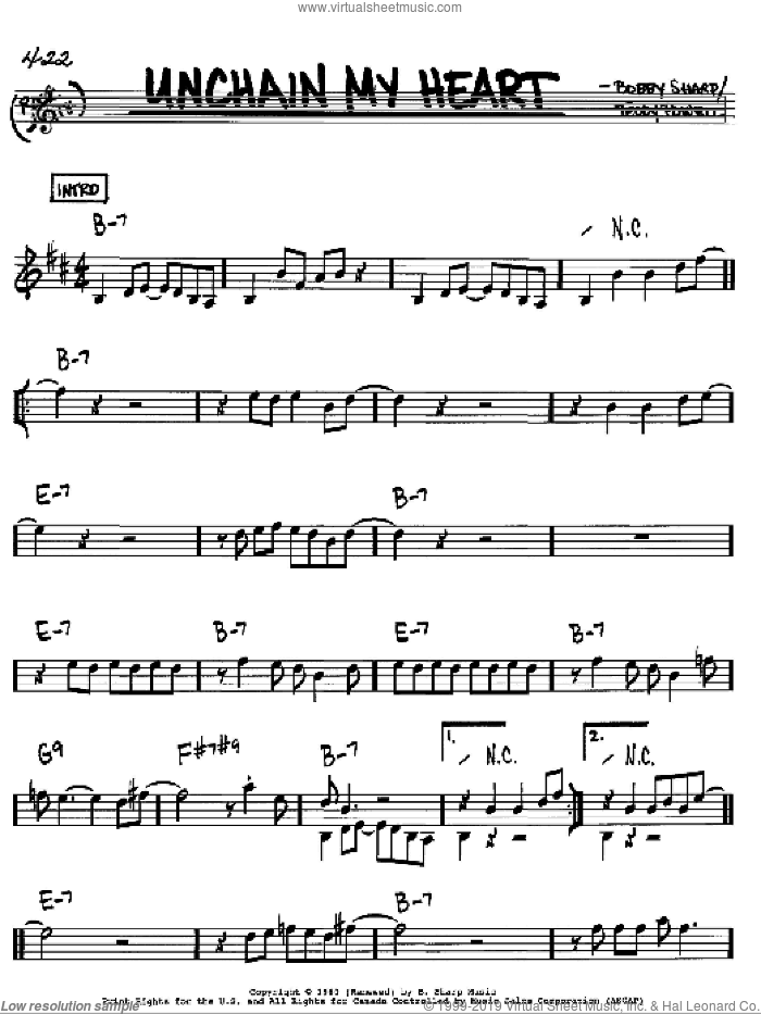 Unchain My Heart sheet music for voice and other instruments (Bb) by Ray Charles. Score Image Preview.