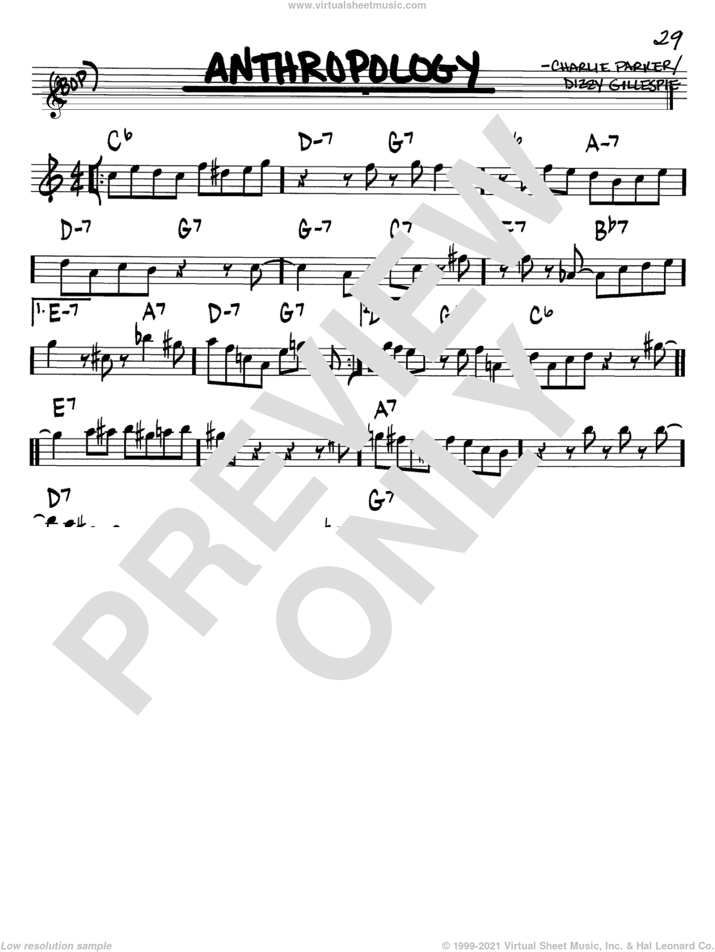 Anthropology sheet music for voice and other instruments (Bb) by Charlie Parker and Dizzy Gillespie. Score Image Preview.