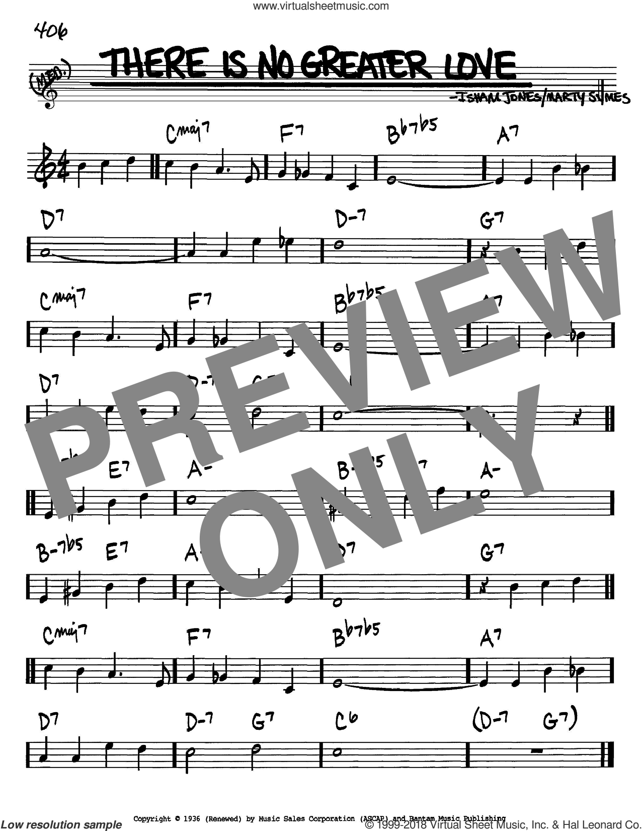There Is No Greater Love sheet music for voice and other instruments (Bb) by Marty Symes and Isham Jones. Score Image Preview.
