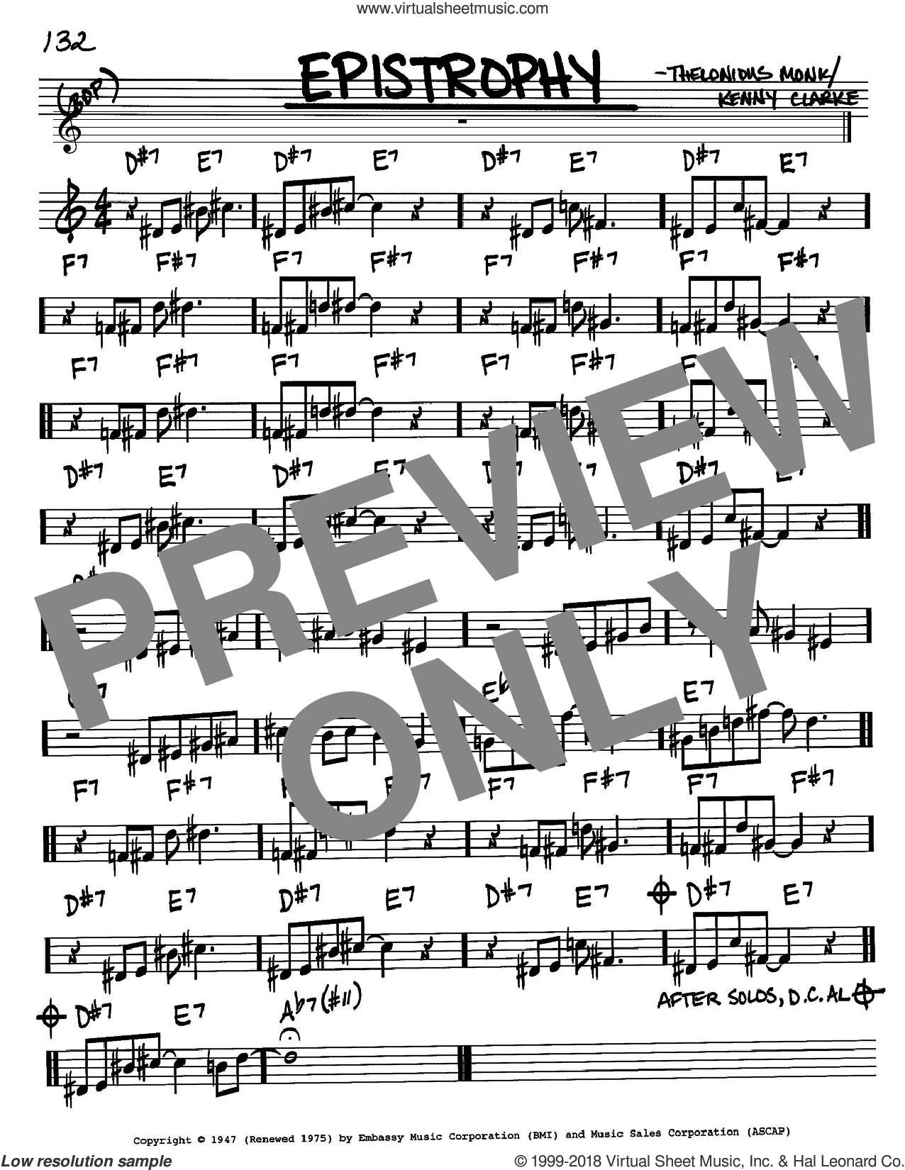 Epistrophy sheet music for voice and other instruments (Bb) by Kenny Clarke