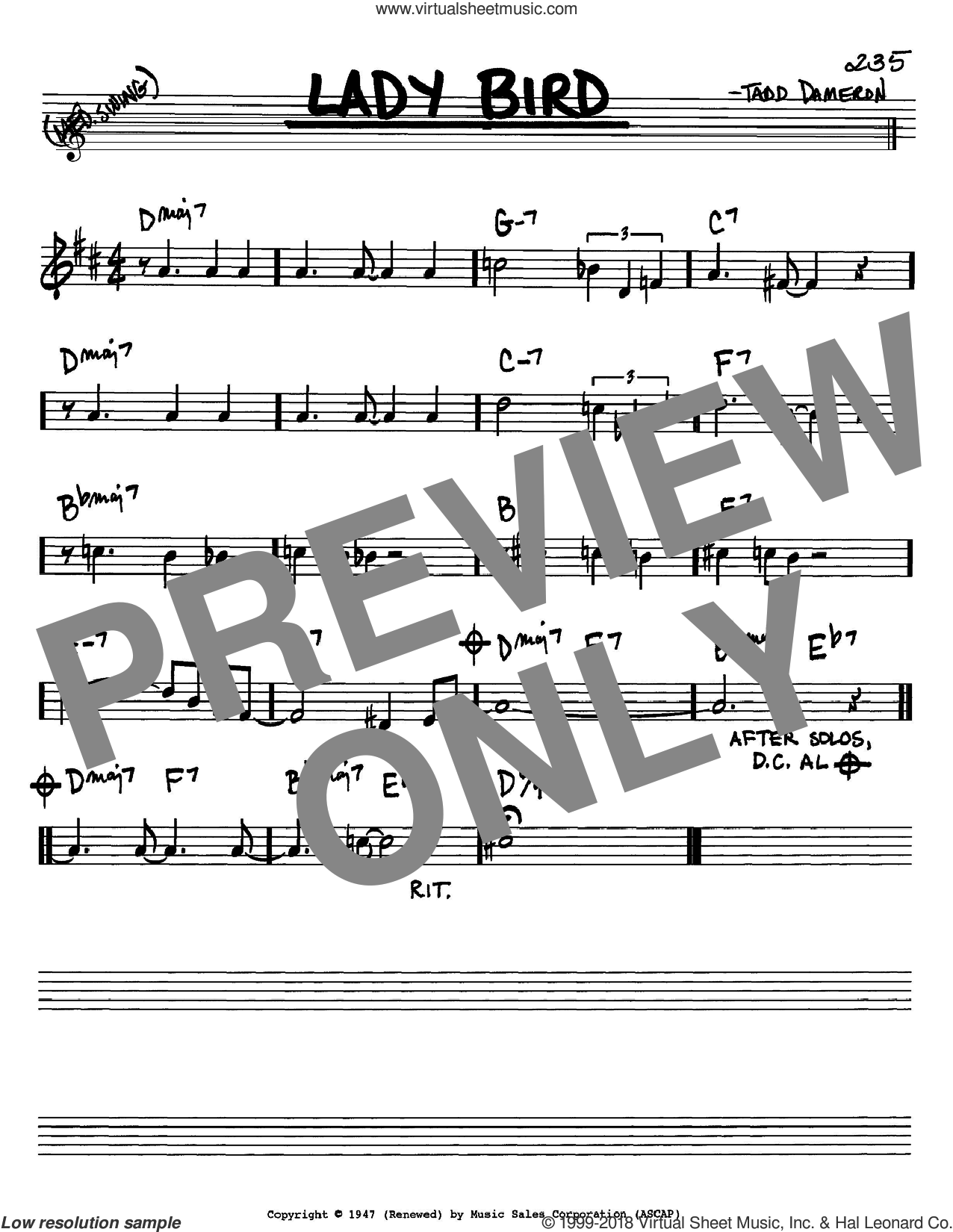 Lady Bird sheet music for voice and other instruments (Bb) by Miles Davis and Tadd Dameron